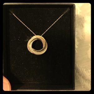 Jewelry - White and black diamond sterling silver necklace